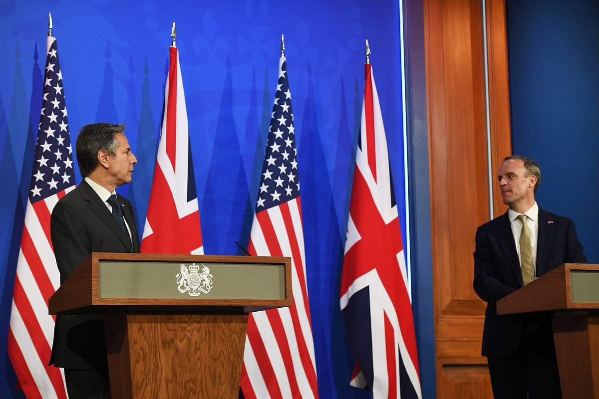 British Foreign Secretary Dominic Raab speaks at a news conference following a bilateral meeting with US Secretary of State Antony Blinken in London during the G7 foreign ministers meeting. Both diplomats reaffirmed the need for multilateralism while emphasising the West defending an international rules based order.