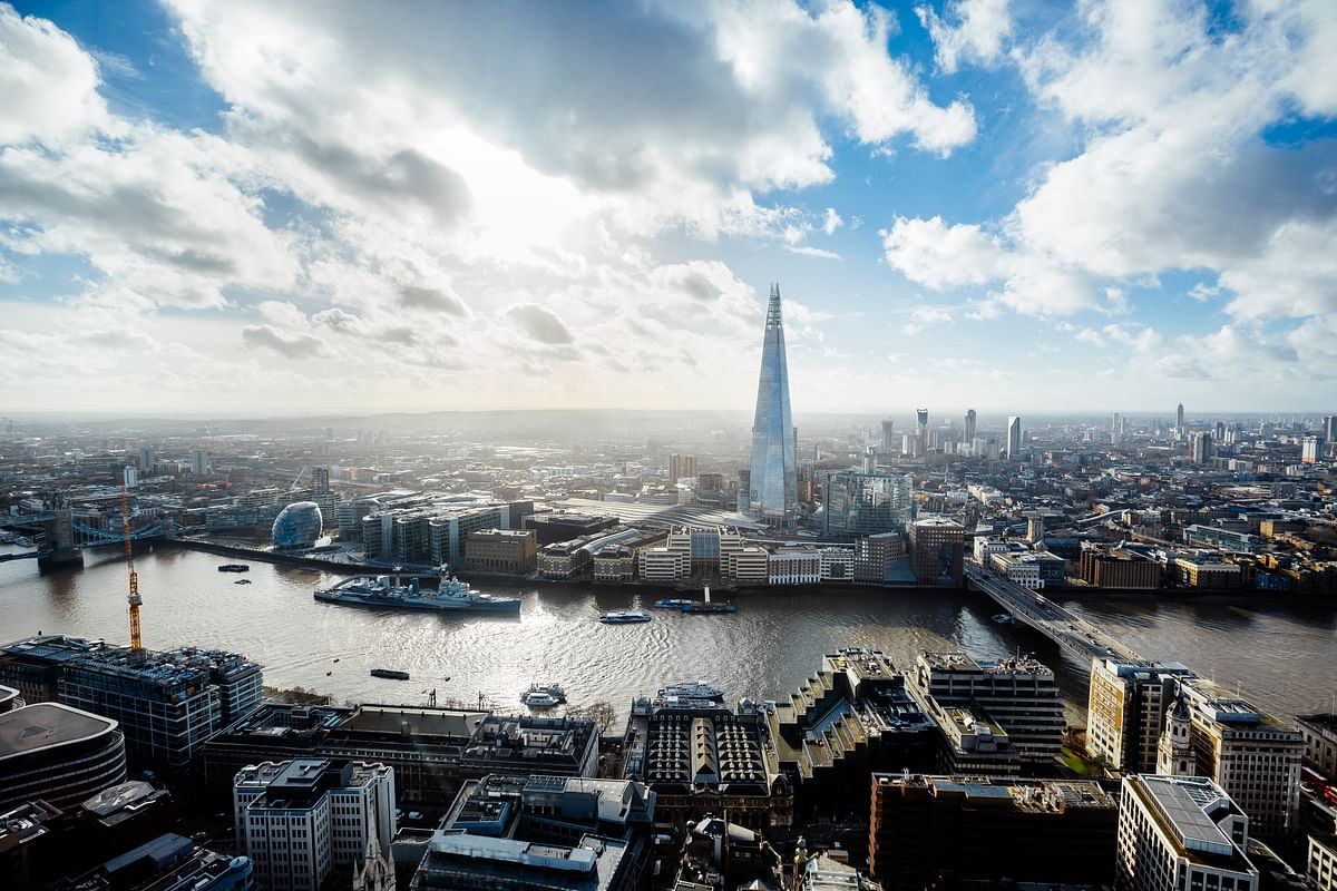 An aerial view of London. The UK government stressed that it is further ramping up efforts to attract investment and increase exports, having recently launched four major new trade and investment hubs in Scotland, Wales, Northern Ireland and the North-East of England.