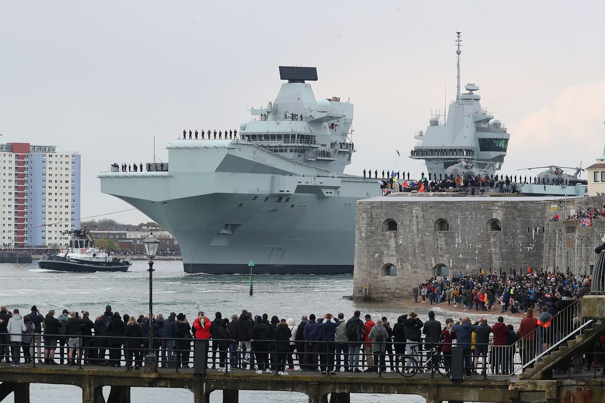 Aircraft carrier HMS Queen Elizabeth leaving Portsmouth Naval Base before heading to the Indo-Pacific region. The UK and EU have almost identical language on their shared vision with India of an open, free, inclusive and rules-based Indo-Pacific region.