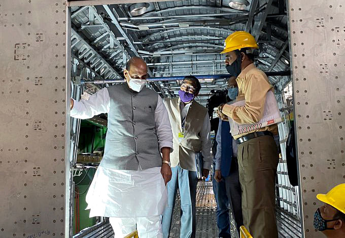 India's defence minister Rajnath Singh at the manufacturing facility of Bharat Earth Movers Limited. The biggest hit from the second wave of Covid infections has been to demand, with a loss of mobility, discretionary spending and employment.