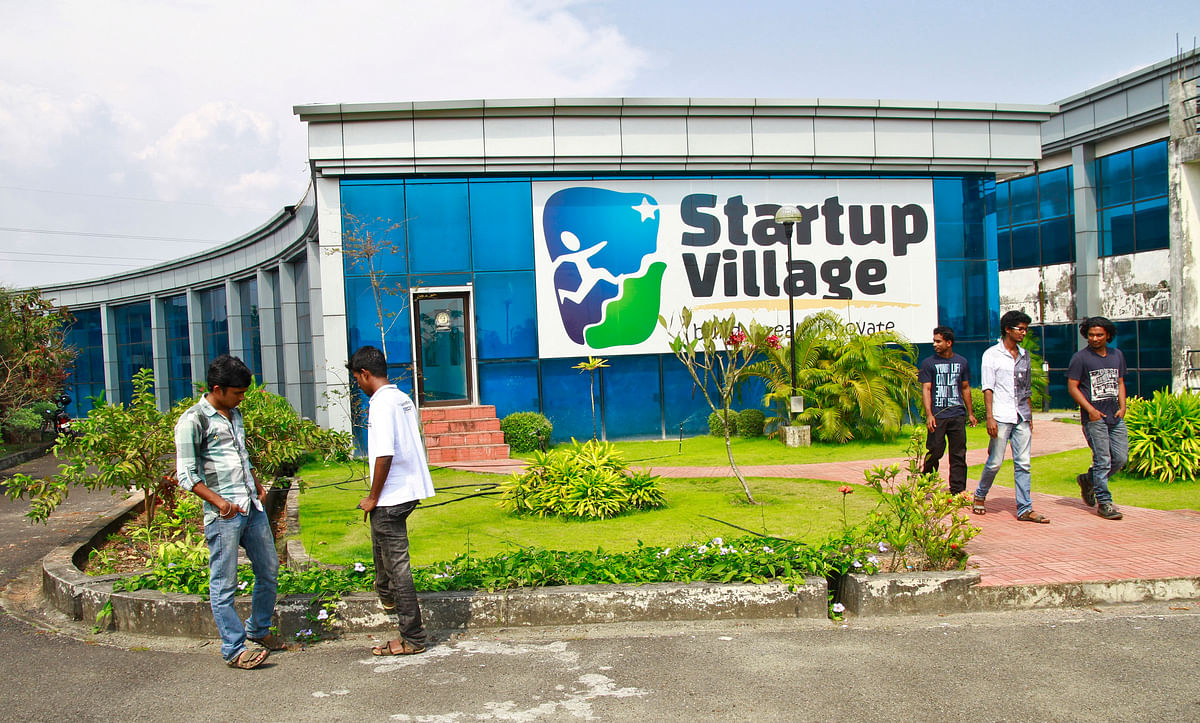 Employees stand outside the Start-up Village in Kinfra High Tech Park in the southern Indian city of Kochi. Indian start-ups have the potential to be the engines of growth for the Indian economy.