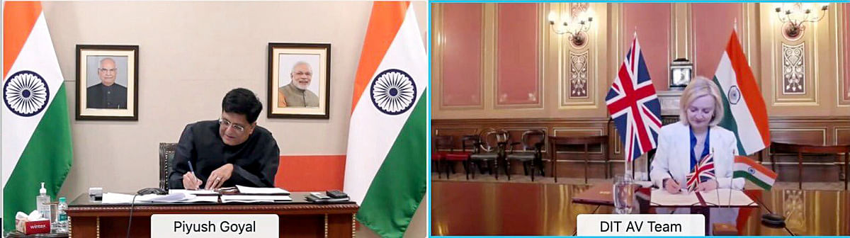 Liz Truss, UK secretary of state for international trade and Indian minister of commerce and industry Piyush Goyal signed for a enhanced trade partnership. The two countries are now working at the FTA.