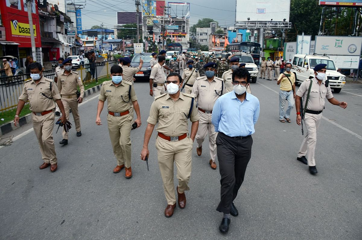Police on a mock drill to ensure a lockdown in Ranchi, India. Demand.  for several commodities has been affected due to the lockdown, full or partial, across certain states.