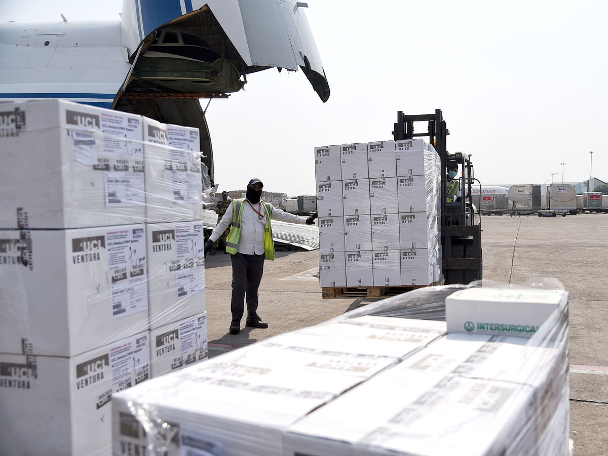 An aircraft arrives with Covid-19 coronavirus relief supplies from the UK at the Indira Gandhi International Airport, in New Delhi. The UK and India will be pursuing collaboration in the field of healthcare which lies at the core of their bilateral engagement.