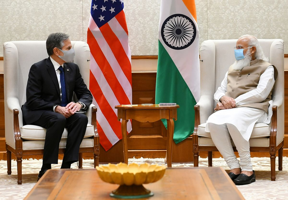 US Secretary of State Blinken with Indian Prime Minister Narendra Modi. The former emphasised his country's role in tackling regional challenges and ensuring a free and open Indo-Pacific in what was seen as a pointed reference to China.
