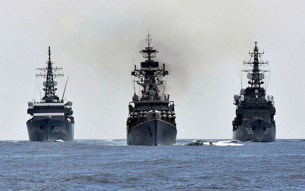 """Image shows JS KASHIMA and JS SETOYUKI conducts a bilateral exercise with INS KULISH at the Indian Ocean to realize """"Free and Open Indo–Pacific."""" India seeks a free and open order in the Indo-Pacific as it engages in ties with like-minded nations."""
