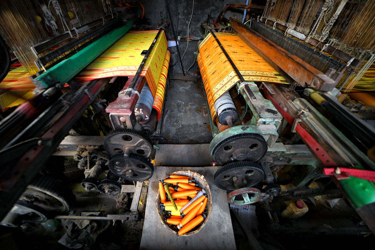 An automated machine seen running at a handloom factory in India. The current data shows that India holds a mere 2 percent global share in the man-made-fibre trade while China, Bangladesh and Vietnam have 38 per cent; 9 per cent and 6 per cent respectively.