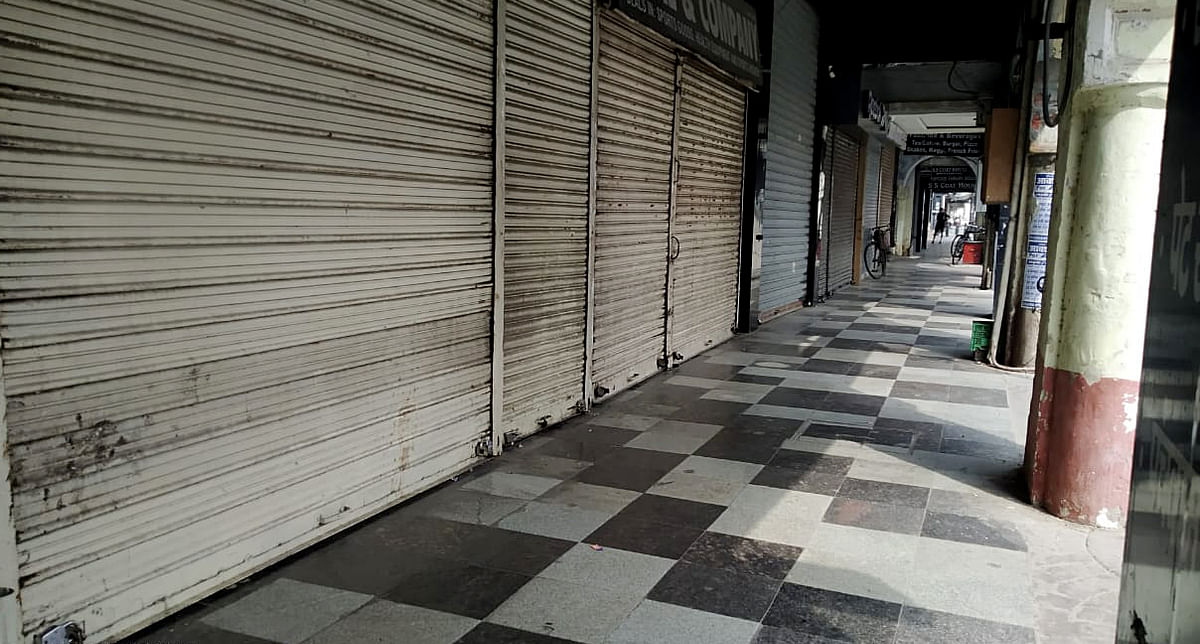 A deserted view of a market during weekend lockdown to contain COVID-19, in Lucknow. Despite the second wave of the pandemic there is an improvement in the health of the Indian corporate sector both YoY and QoQ. In fact, the rate of upgrades rose at the fastest pace since last year, when the pandemic broke out in India.