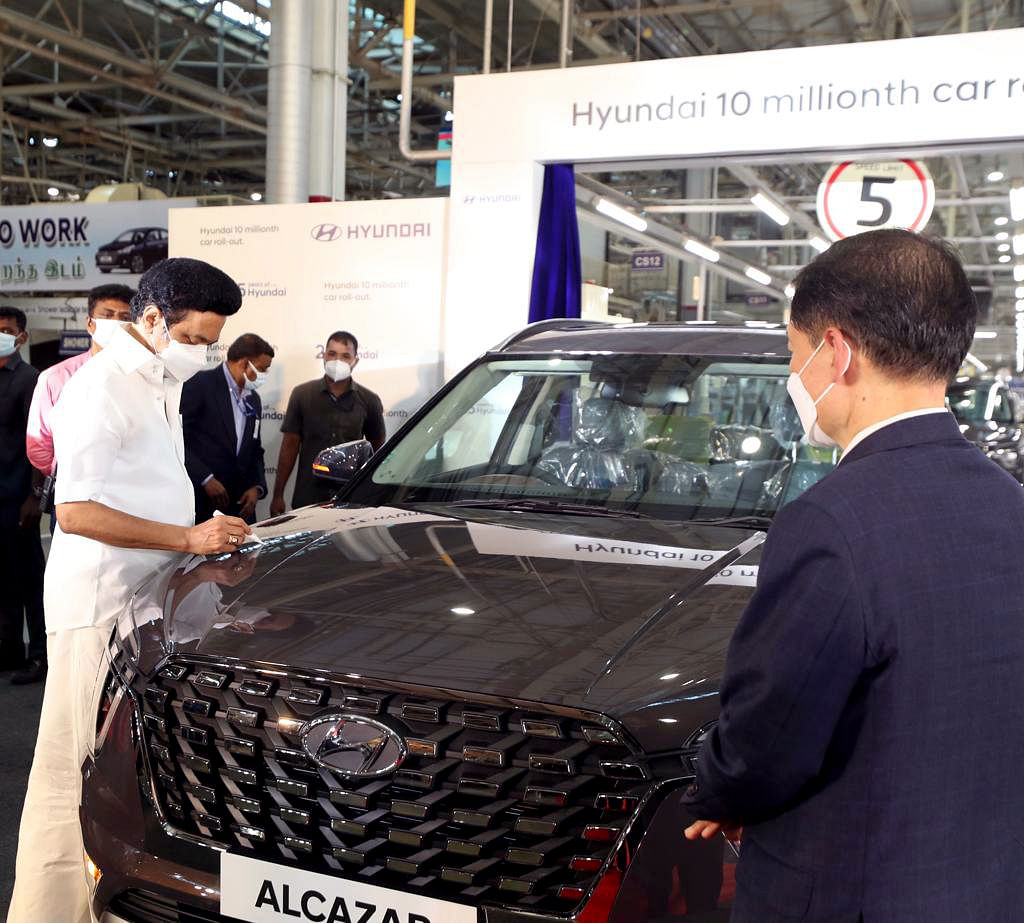 Tamil Nadu chief minister MK Stalin oversees the rollout of Hyundai's 10-millionth car from its factory in Sriperumbudur. The Indian auto sector had a decent export report card despite the restrictions brought about by the pandemic and lockdown.