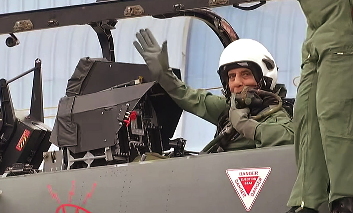 Defence Minister Rajnath Singh flies in Light Combat Aircraft (LCA) Tejas. The HAL Tejas is an Indian single-engine multirole light fighter designed by the Aeronautical Development Agency (ADA) in collaboration with Aircraft Research and Design Centre (ARDC) of Hindustan Aeronautics Limited (HAL) for the Indian Air Force and Indian Navy.