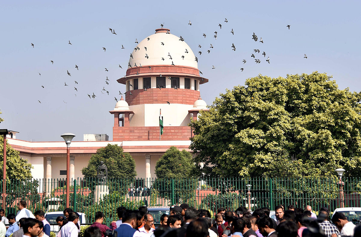 A view of the Supreme Court of India. In India, the central and state governments and government-owned undertakings allegedly accounted for almost 50 per cent of cases clogging the Indian judicial system.