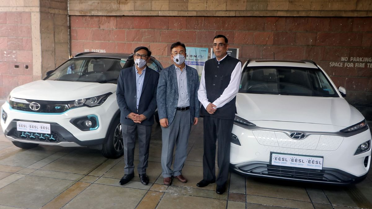 EV's manufactured by Tata and Hyundai are on display. Ola Electric is Agarwal's second start-up after Ola Cabs, which competes with Uber in India and several other markets across the world.
