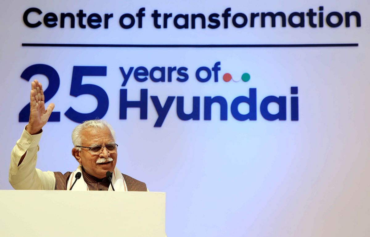 Haryana Chief Minister Manohar Lal Khattar addresses at the inauguration of Hyundai's new corporate headquarters, in Gurugram last month. Hyundai, which has around an 18% share of India's car market is also hoping for a cut in import duties.
