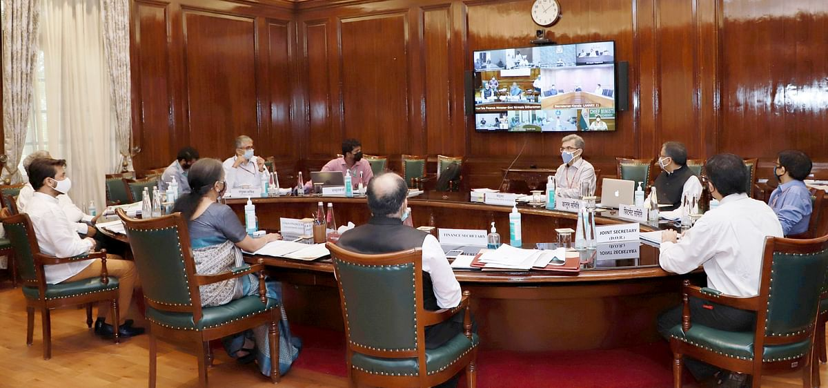 Union Minister for Finance and Corporate Affairs Nirmala Sitharaman along with Minister of State for Finance and Corporate Affairs, Anurag Singh Thakur, and other dignitaries chairing the 42nd GST Council meeting.