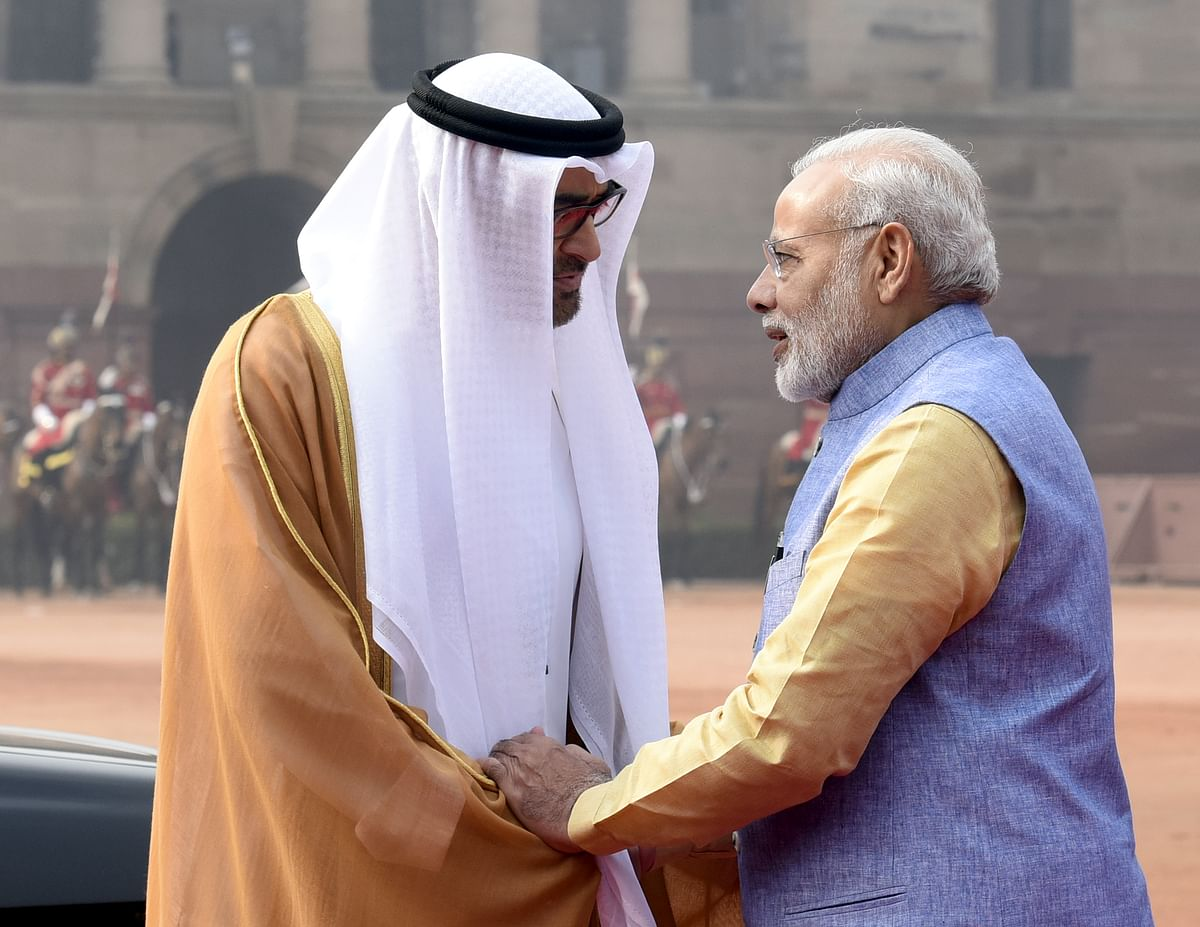 Prime Minister Narendra Modi talking with His Highness Sheikh Mohammed Bin Zayed Al Nahyan The Crown Prince of Abu Dhabi. India is negotiating at least 20 FTAs with countries and blocs like the US, the UK, Australia, the EU, UAE and several others.