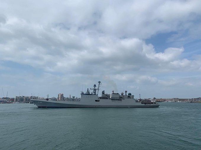 INS Tabar meets up with a Royal Navy frigate along with shore-based aircraft for air defence exercises, anti-submarine procedures, replenishment at sea activities, and communication drills at sea.