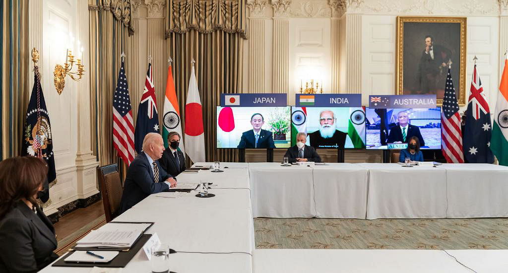 US President Joe Biden attends the first Quad Summit virtually with Prime Minister Narendra Modi, Japanese PM Yoshihide Suga and Australian PM Scott Morrison. The members of the Quad are seeking to remove economic coercion and disruption of trading flows along the Indo-Pacific corridor in a bid to boost free and fair trading activity.