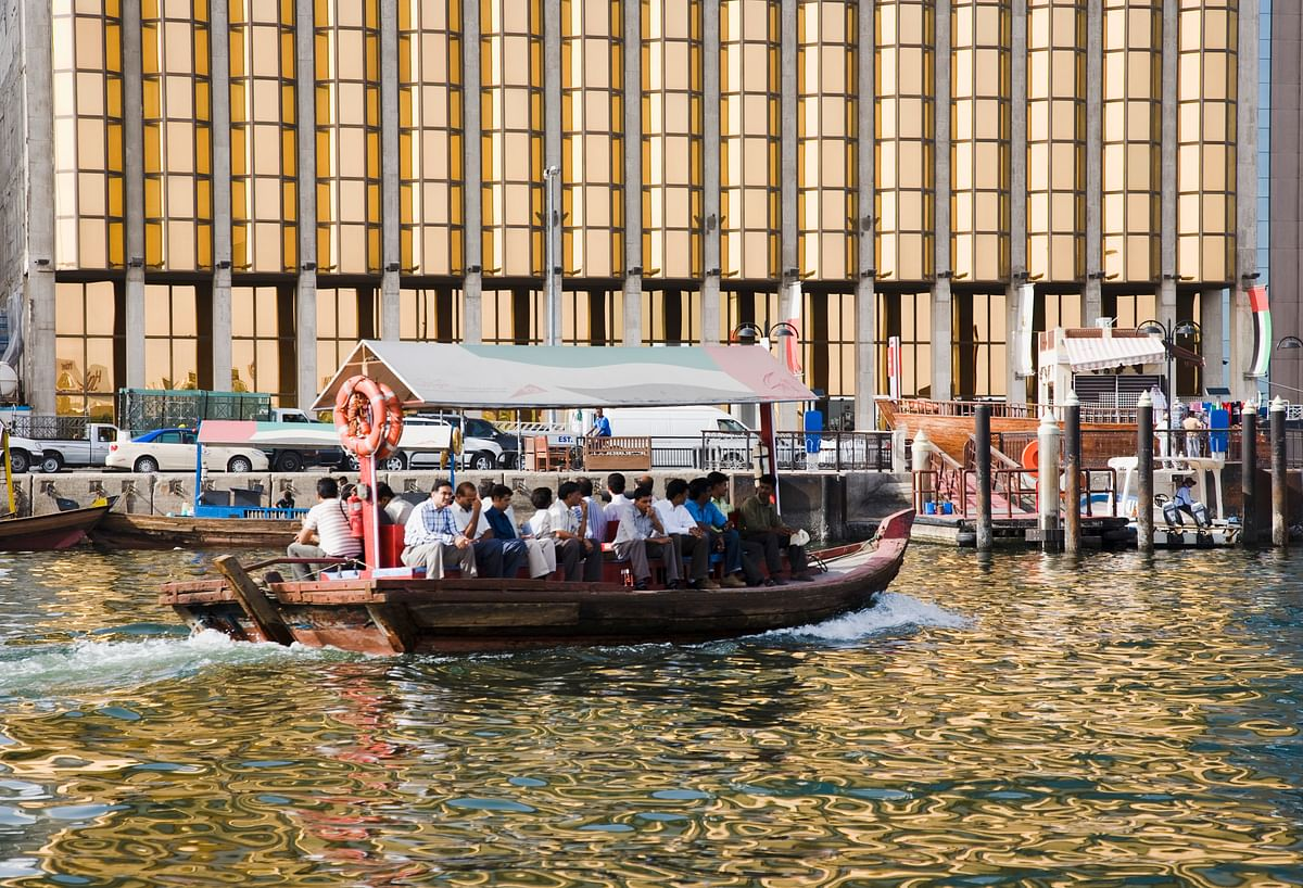 An abra water taxi taking commuters across the Creek with the bank facade behind. Trade between the UAE and India has been diversified as bilateral cooperation continues to deepen in multiple sectors.