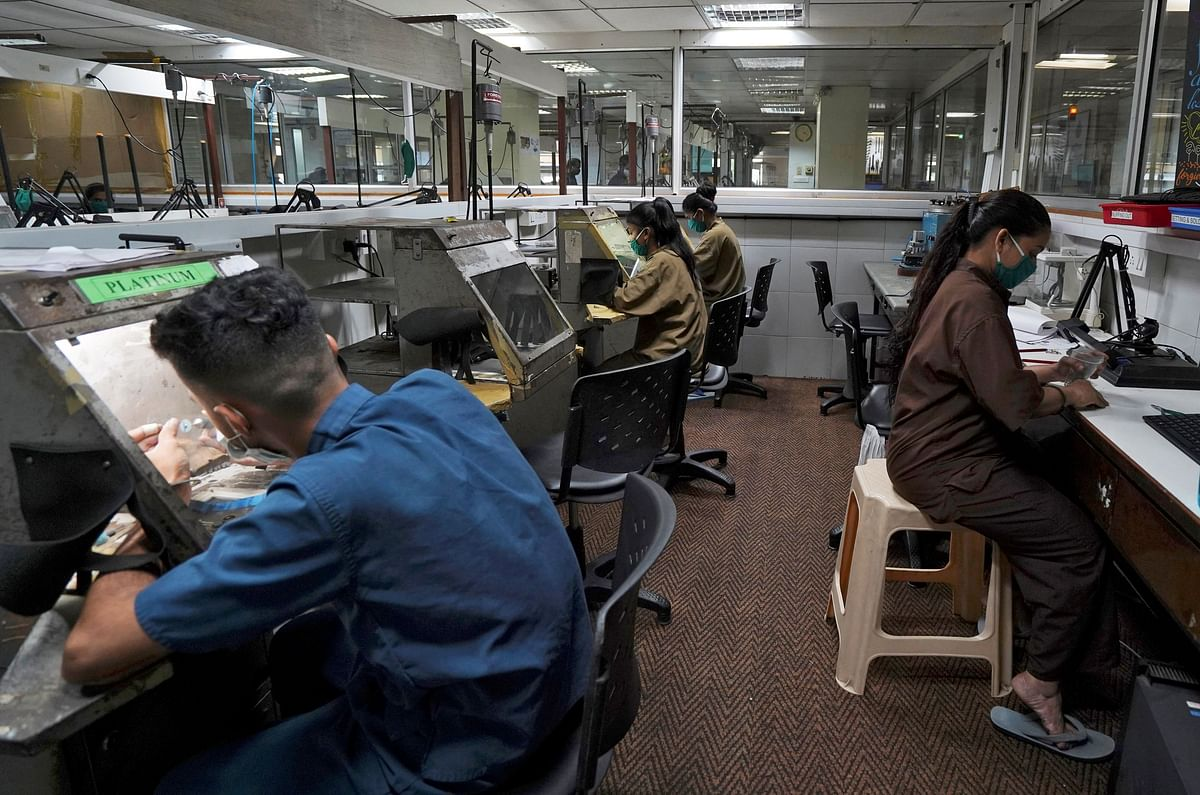 Employees work at a diamond jewellery manufacturing factory in Mumbai. The 'Gati Shakti' initiative is expected to provide employment opportunities to the country's youth.