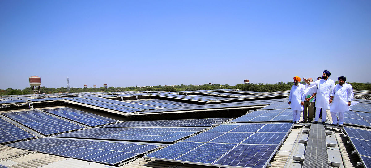 A renewable rooftop solar power plant installed at Dera Baba Jaimal Singh, by the Radha Soami sect., 45km from Amritsar in Beas, India. India's power sector will receive a boost worth billions of dollars in transmission lines with added focus on Hydro, Solar, and Wind projects from NHPC, NTPC, and Neyveli Lignite for monetisation.