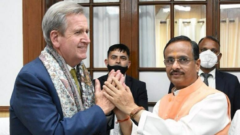 Australian ambassador to India, Barry O'Farrell meeting with UP deputy chief minister Dinesh Sharma earlier this year. He described Abbott's visit to India as an attempt to energise the economic relationship between the two countries.