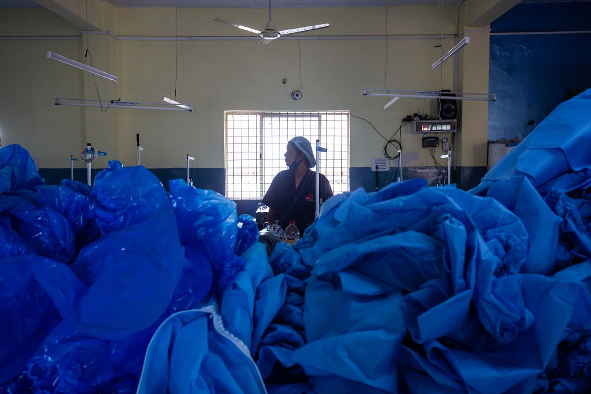 Women sort personal protection equipment (PPE) gear inside the Sipra Surgi-Med PPE manufacturing facility. The government's 'Skill India' initiative has created thousands of job opportunities in the manufacturing sector and enhanced skill development to create a large pool of skilled human resources.