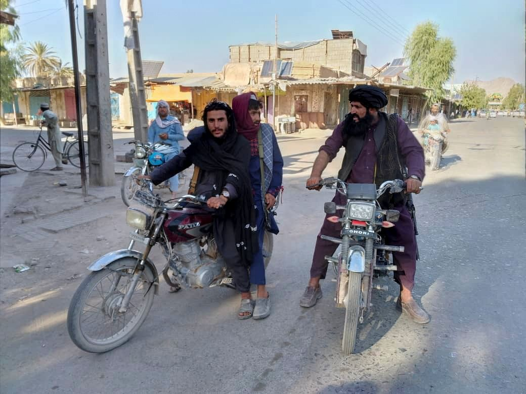 Taliban fighters patrol the Farah province in Afghanistan. The Indian presence in Afghanistan focused on the strategic interests couopled with the well-being of the Afghan people through investments in multiple and diverse projects which were operational but has now fallen into Taliban control.