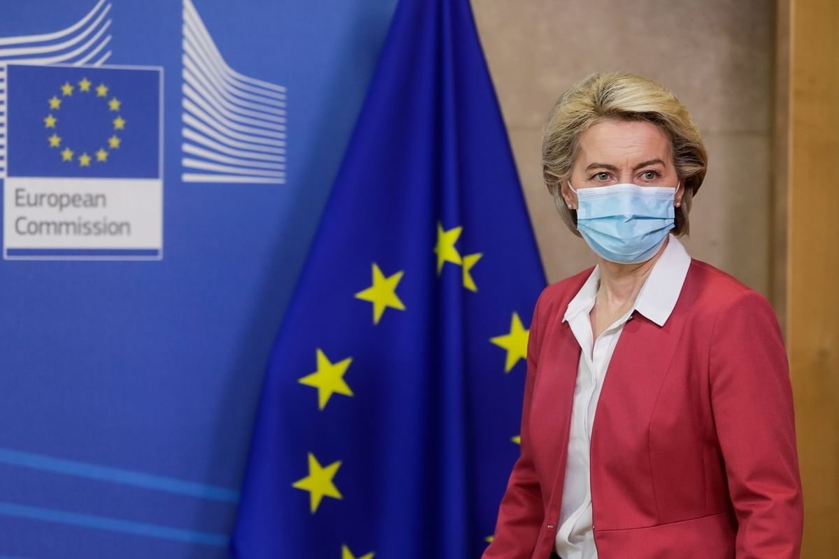 European Commission President Ursula von der Leyen prepares to make an address. India now plans to fast-track FTAs with at least six nations — including the UAE, the UK, Australia, Canada, and the EU.