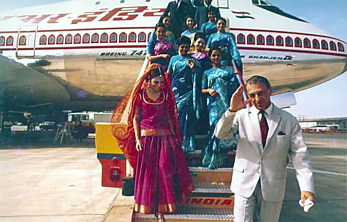 Business comes full circle. A file photo showing former Tata Group head JRD Tata disembarking off an Air India flight. The return of the airline to the Tata fold is a homecoming of sorts.