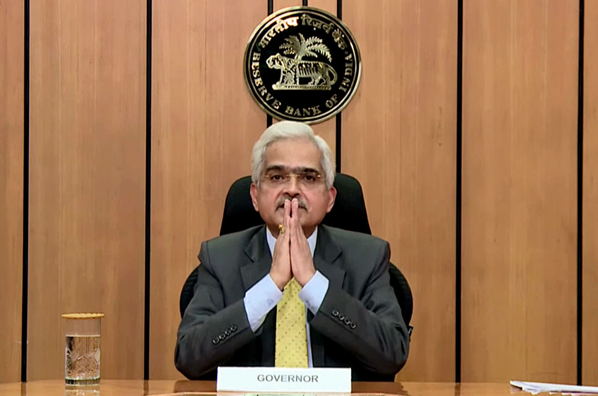 RBI Governor Shaktikanta Das addresses during a press conference in Mumbai on Friday. India's Consumer Price Index (CPI) inflation for the first quarter of the financial year (FY) 2022-23 has been projected at 5.2 per cent.
