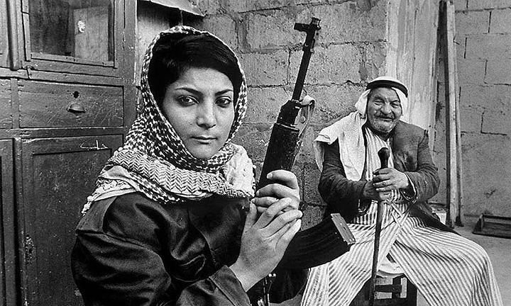 Leila Khaled, a known perpetrator of terrorism.  Khaled came to public attention for her role in the TWA Flight 840 hijacking in 1969