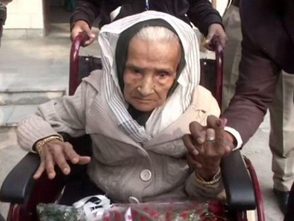 110-year-old Kalitara Mandal, Delhi's oldest voter exercises her democratic right