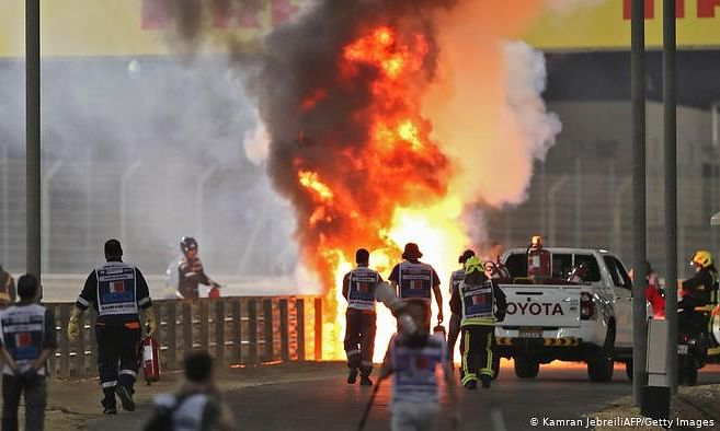 F1 driver survives huge crash after car splits into two and bursts into flames