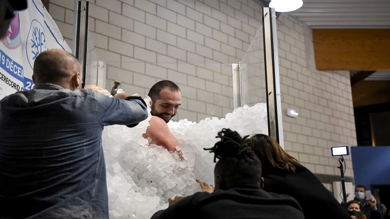 French man sets world record for being immersed in ice cubes for longest time