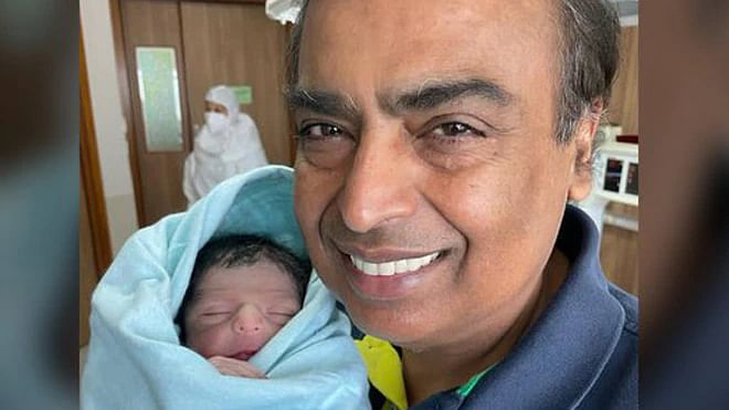 First picture of Mukesh Ambani with newborn grandson surfaces online