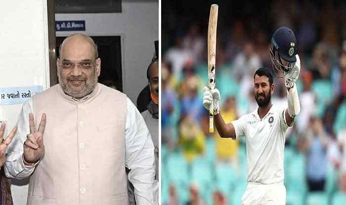 Amit Shah wishes Pujara to score double century at Motera stadium