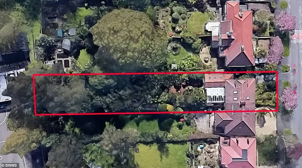 Google satellite view of the jungle garden shows how the clinical biochemist has made use of all the space in the garden to create his 'jungle'