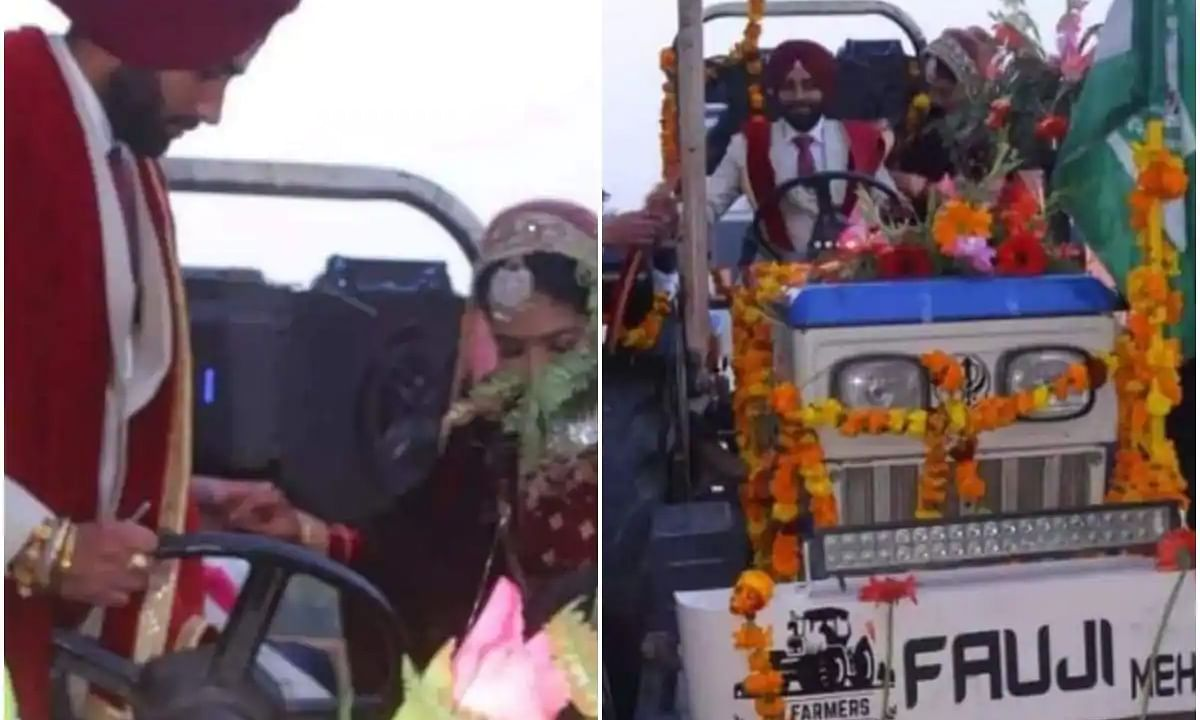 Farmer support: Newlywed couple in Uttarakhand leave car, return home from venue on a tractor