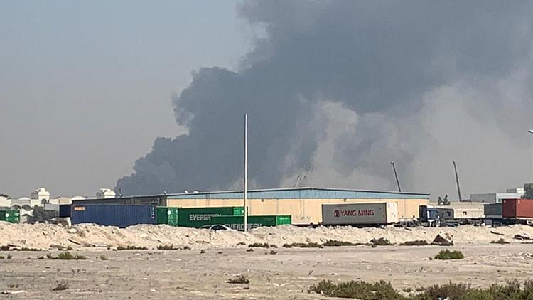 Fire breaks out at a scrap yard in Sharjah