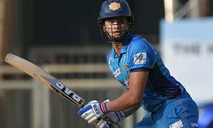 Arjun Tendulkar hits 5 sixes in an over and grabs 3 wickets