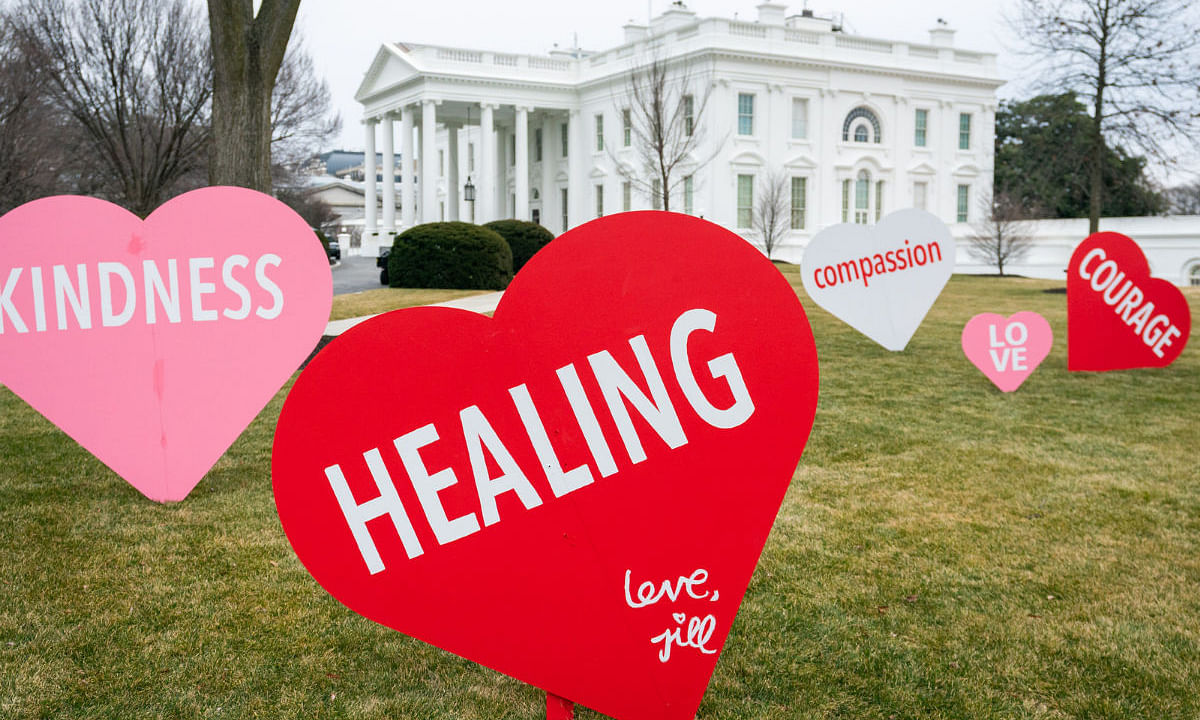 Healing, Courage, Love: First Lady Jill Biden's pictures of Valentine's Day decor at the White House go viral