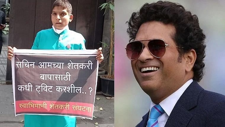 Tendulkar faces protest by a farmer's son outside his residence