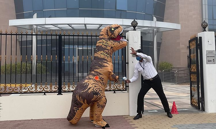 Father wears dinosaur suit to son's school as part of fairytale lesson in Dubai