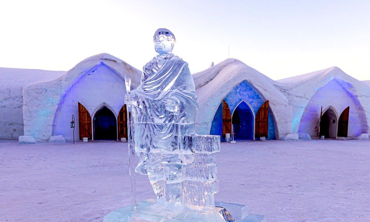 Canada's famous 'Hotel de Glace' installs Mahatma Gandhi's ice statue ahead of 75th Independence Day