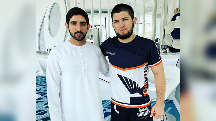 Khabib shares a picture with Sheikh Hamdan, says he would only return to UFC with mother's blessing