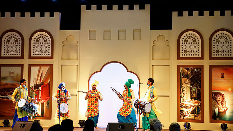 "Bhangra dancers make the crowd go ""balle balle"" at Sharjah Heritage Days"