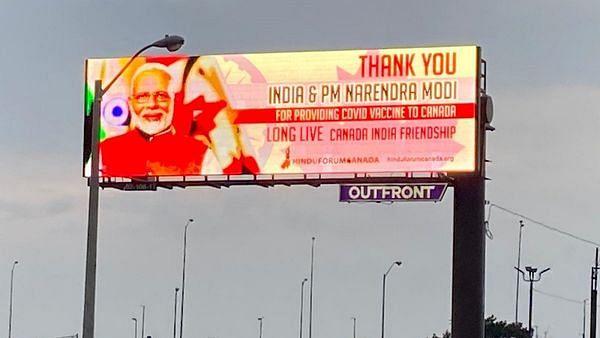 Now, billboards in Toronto thank PM Narendra Modi for providing COVID-19 vaccines to Canada