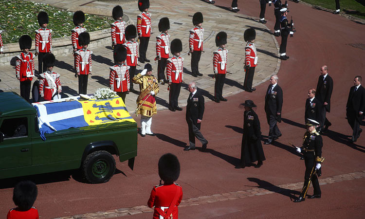 Members of the royal family follow the coffin of Prince Philip.