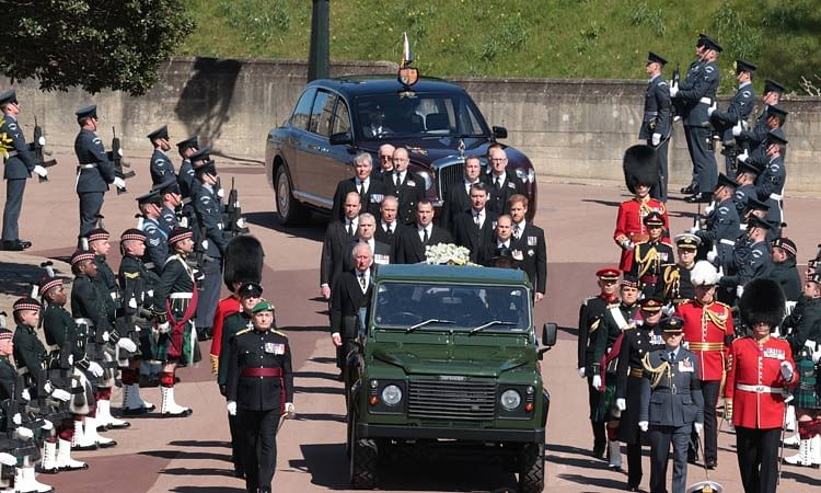 Members of the royal family follow the hearse during the funeral of Prince Philip.