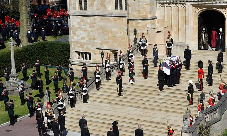 The coffin arrives at St George's Chapel for the funeral of Prince Philip.